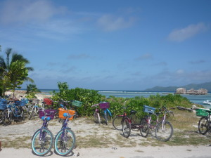 Bicycles awaiting on La Digue